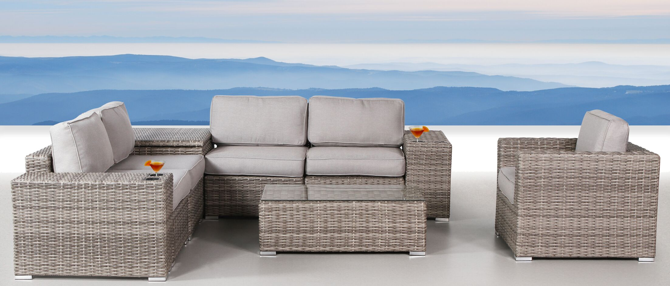 Yeomans 9 Piece Rattan Conversation Set with Cushions