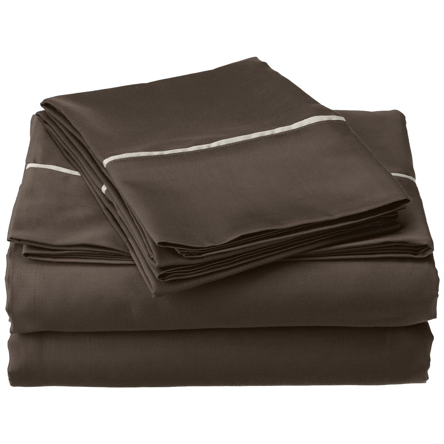 Bahama 600 Thread Count Sheet Set Color: Grey with Silver Trim, Size: California King