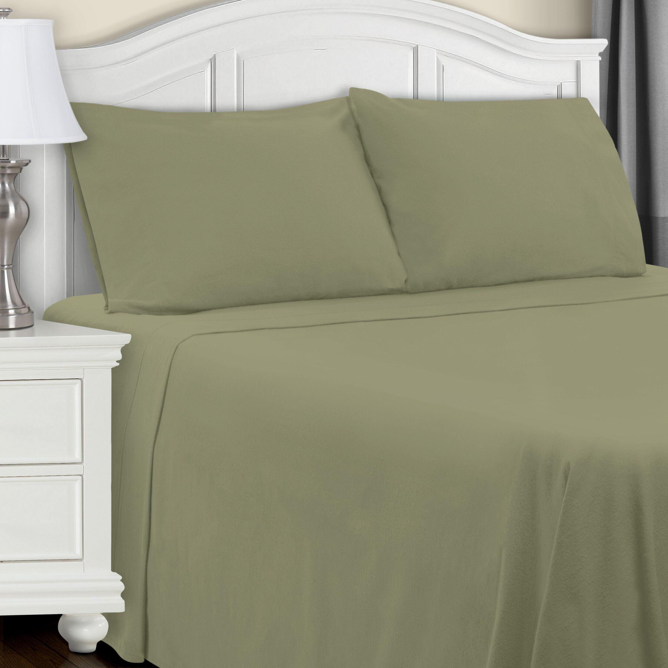 Cullen Flannel Sheet Set Color: Sage, Size: Twin