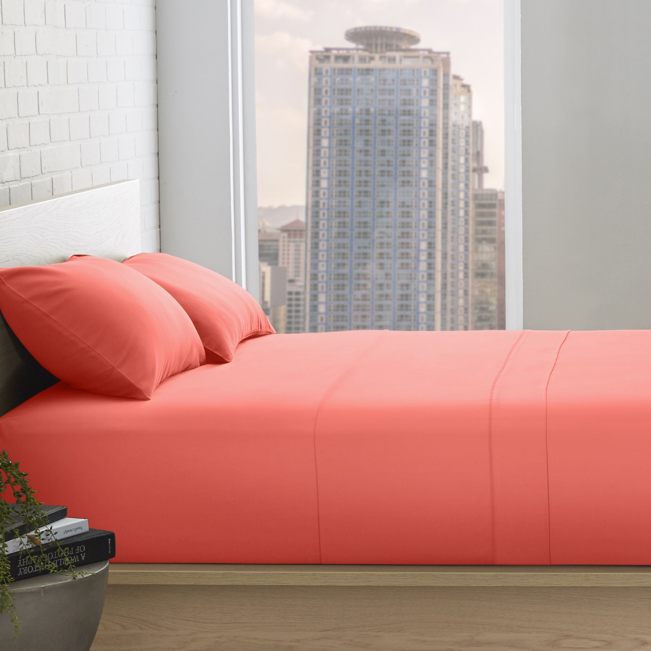 Patric 800 Thread Count 100% Egyptian-Quality Cotton Sheet Set Color: Coral, Size: King