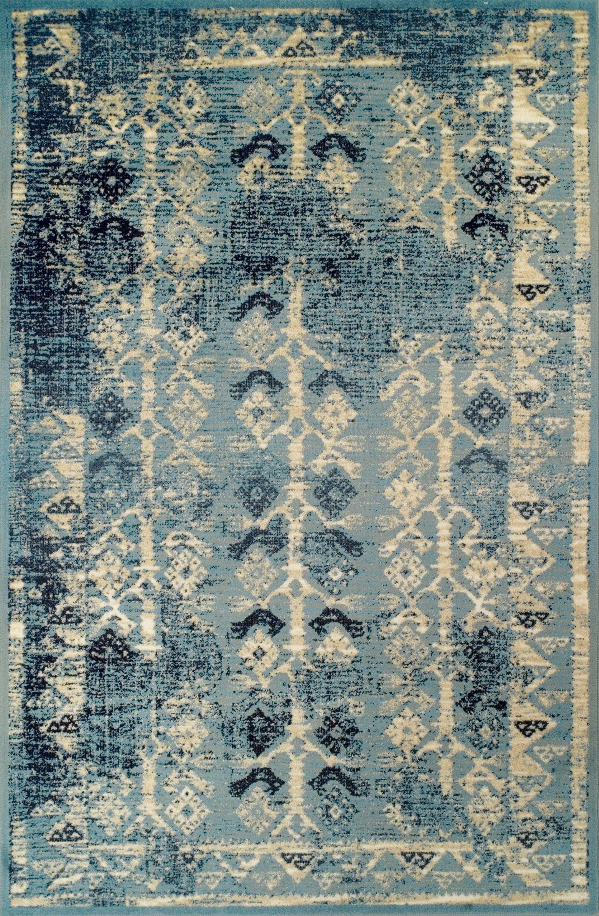 Mya Blue/Cream Area Rug Rug Size: 8' x 10'