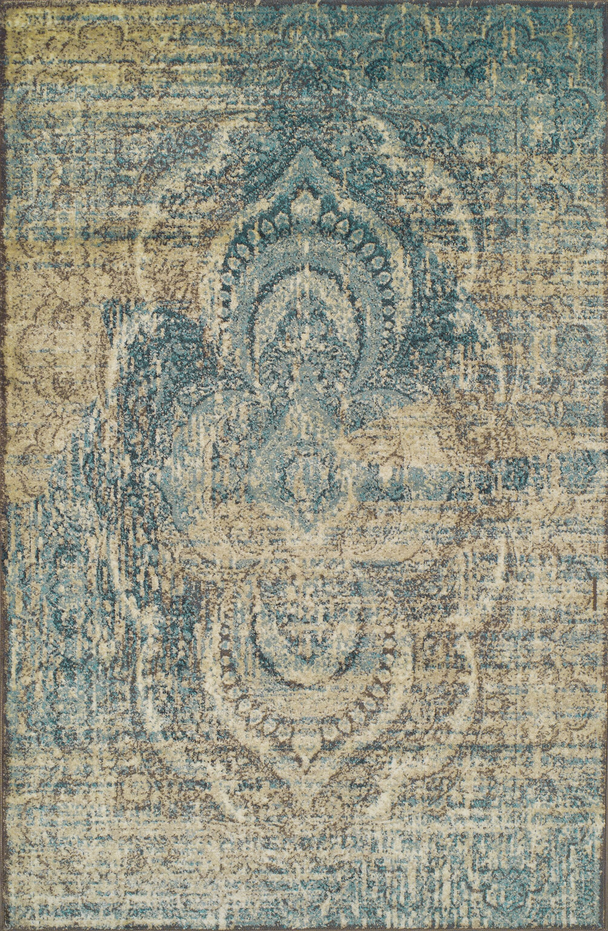 Kaetzel Beige/Blue Area Rug Rug Size: Rectangle 6' x 9'
