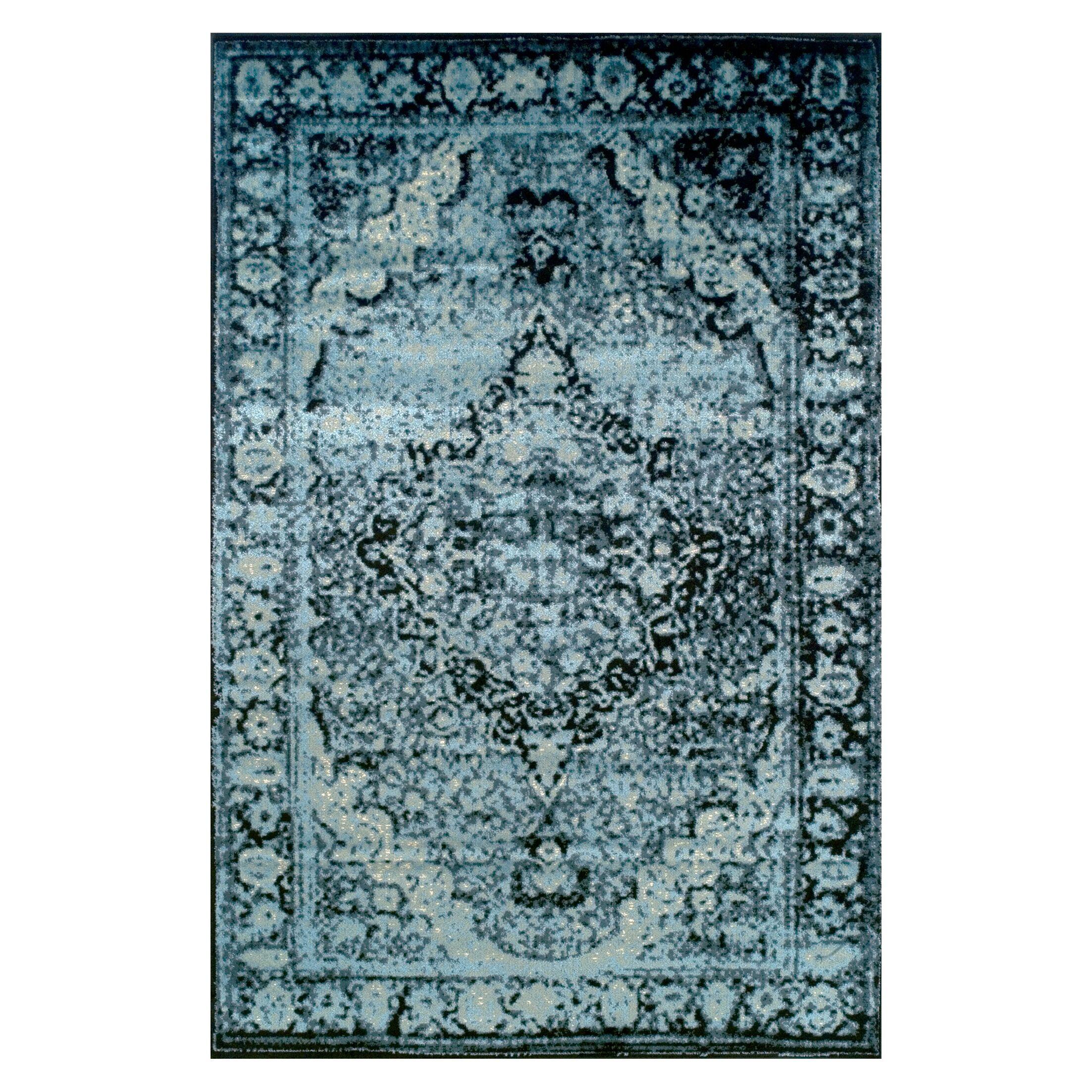 Sanders Midnight Blue/Black Area Rug Rug Size: Rectangle 8' x 10'