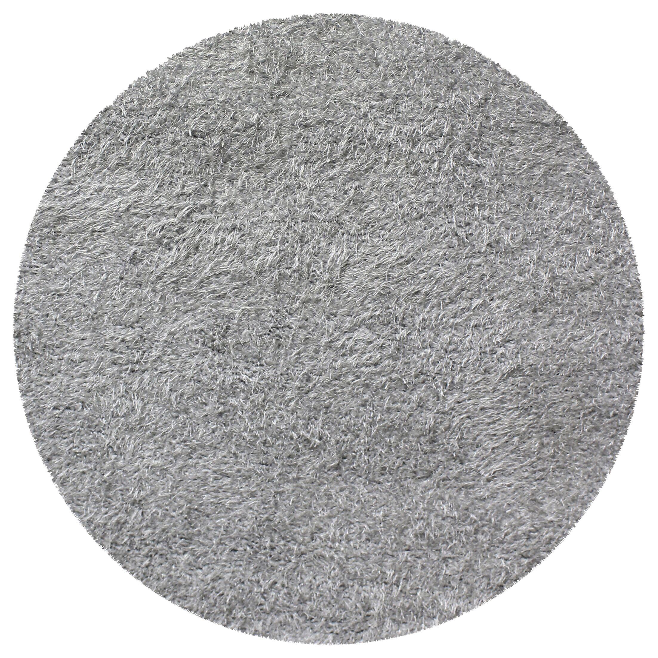 Blaisdell Shag Hand Woven Silver Area Rug Rug Size: Round 6'6