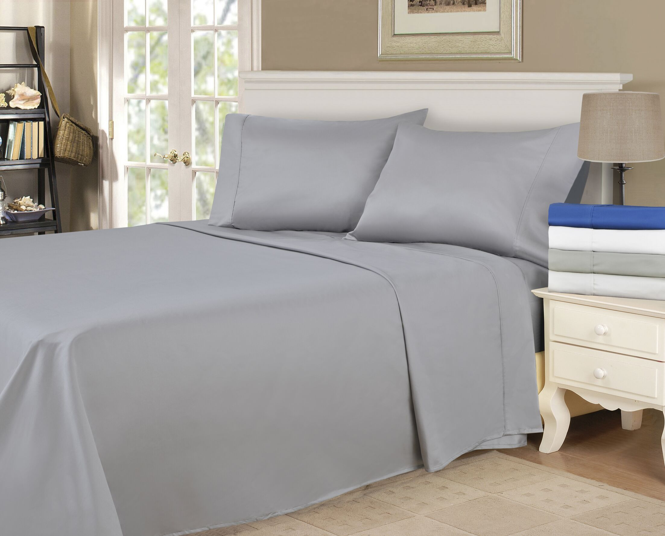 900 Thread Count 100% Cotton Sheet Set Size: King, Color: Grey