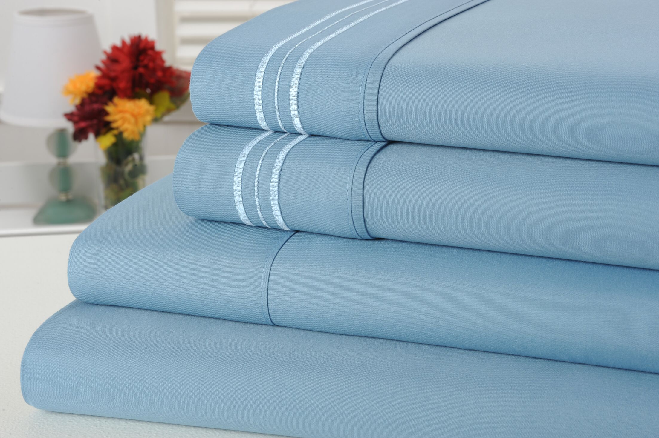 Alonzo Modern Rayon from Bamboo Sheet Set Size: King, Color: Sky Blue