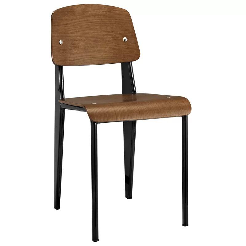 Crowl Metal Dining Chair Color: Black/Natural