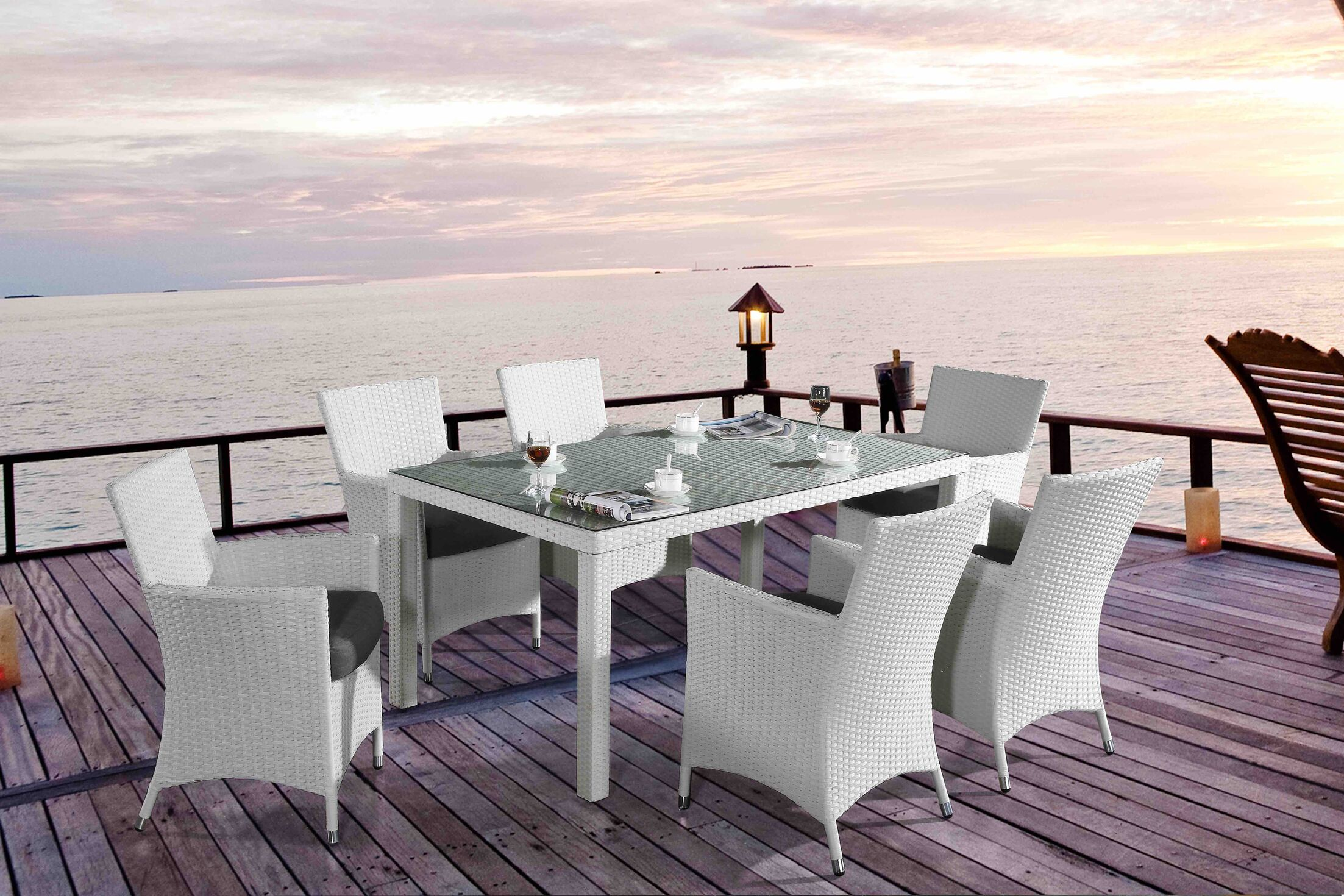 Chiasso 7 Piece Dining Set with Cushions Color: White