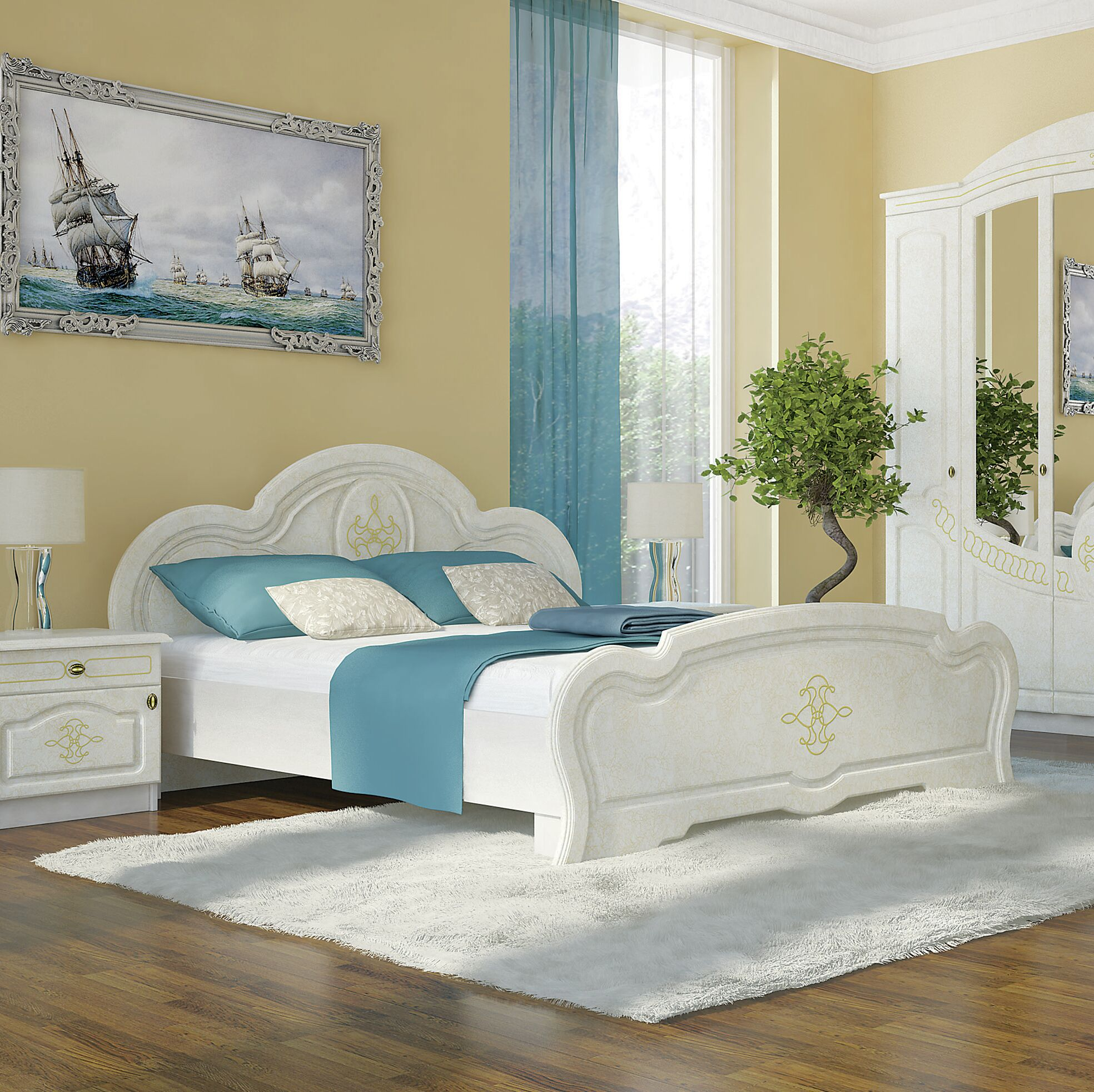 Melinda European Platform Bed with Mattress Color: Birch
