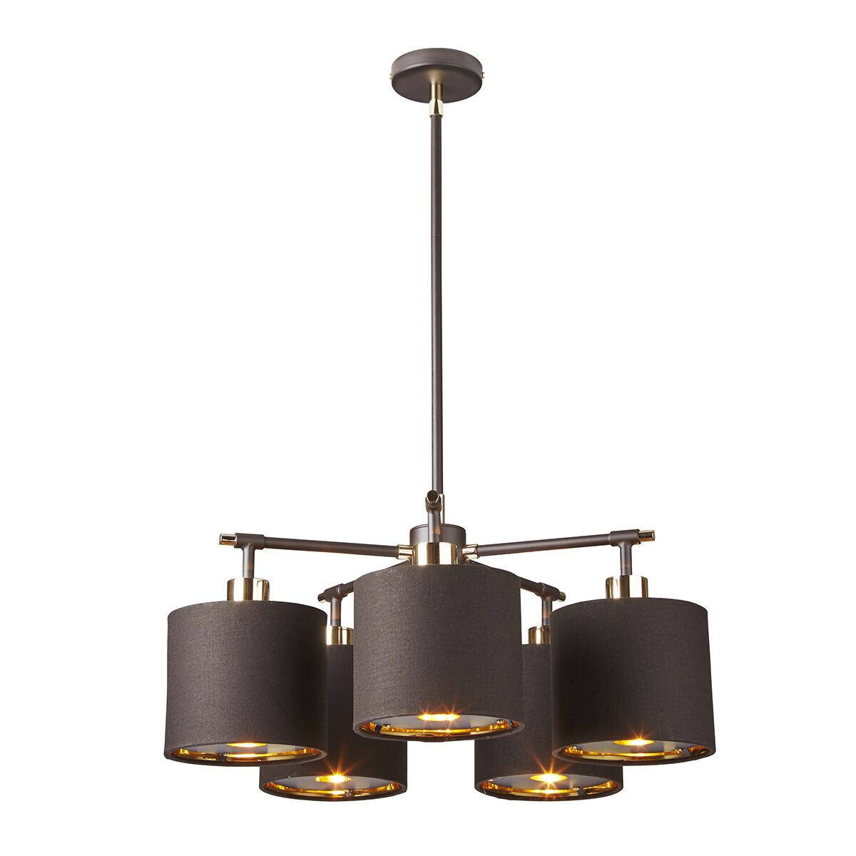 Isler 5-Light Shaded Chandelier Finish: Brown/Polished Brass