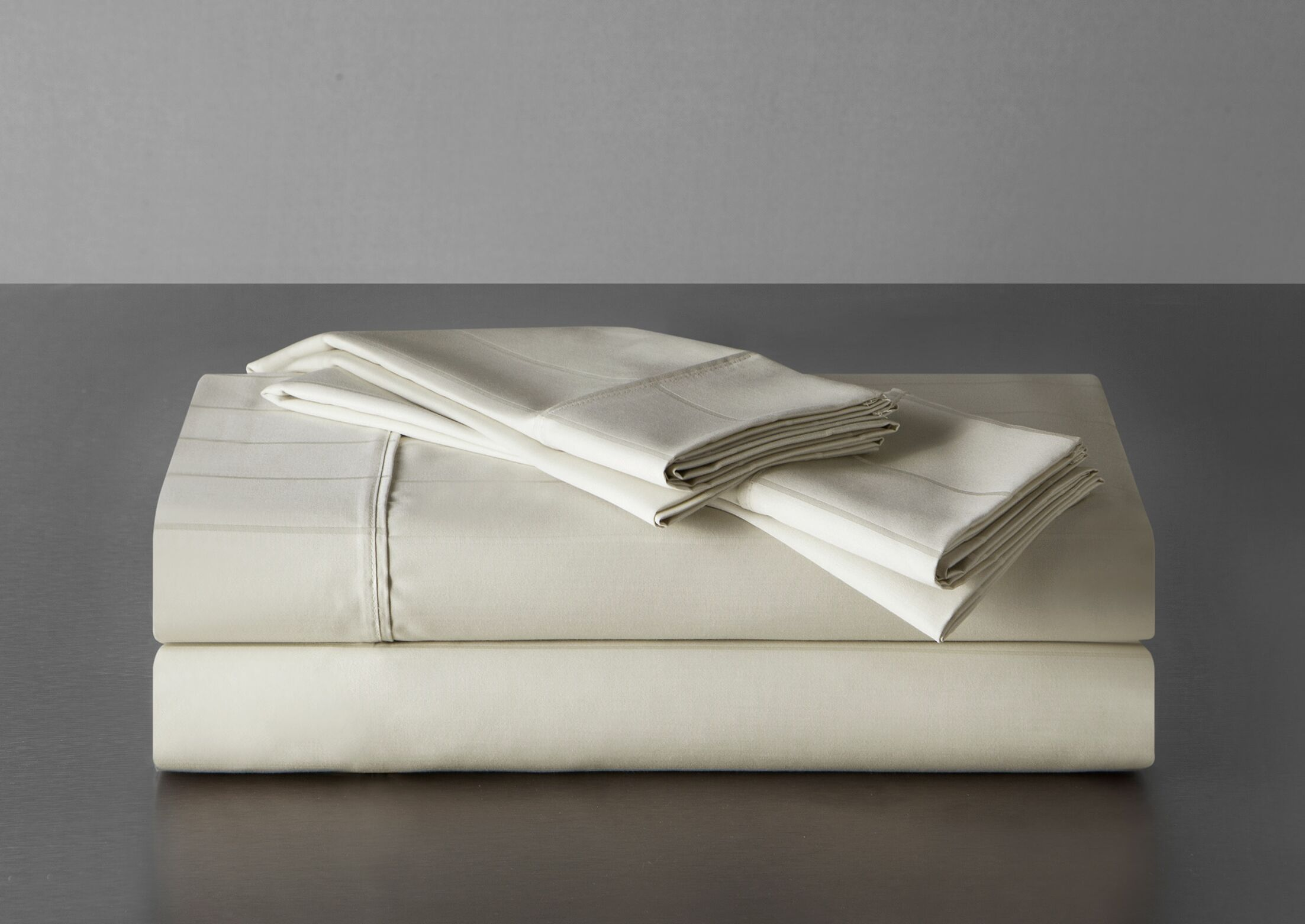 Sullivan Pinstripe 600 Thread Count 100% Cotton Sheet Set Color: Ecru, Size: King