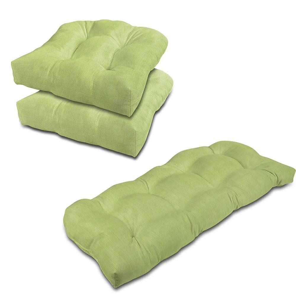 Eco Friendly Indoor/Outdoor Sunbrella Chair and Bench Cushion Set Fabric: Parrot