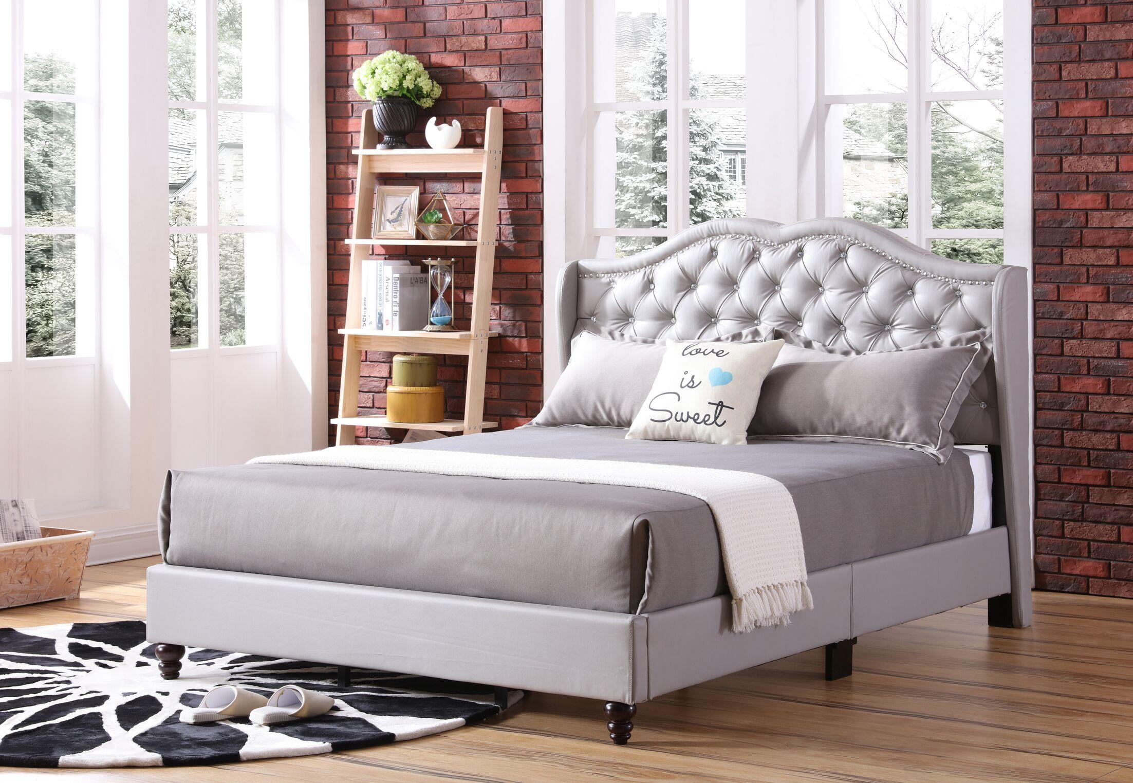Cobbett Upholstered Panel Bed Size: King, Color: Gray