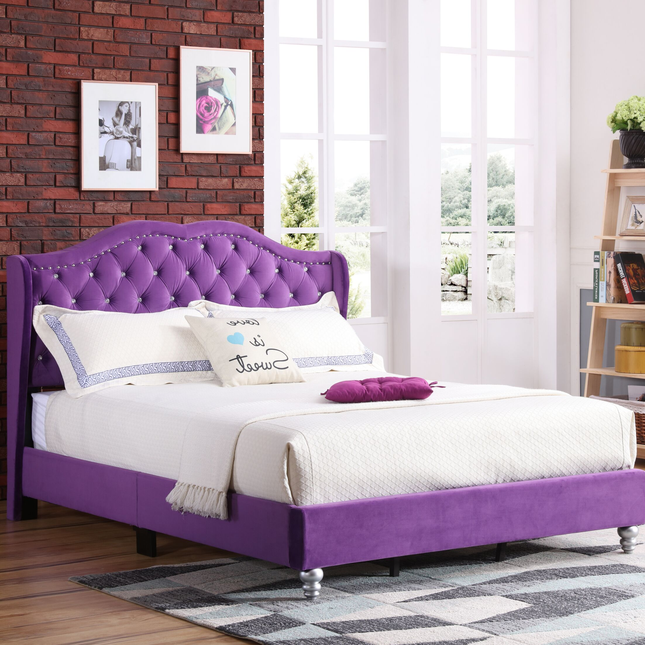 Colbourne Upholstered Panel Bed Size: King, Color: Purple