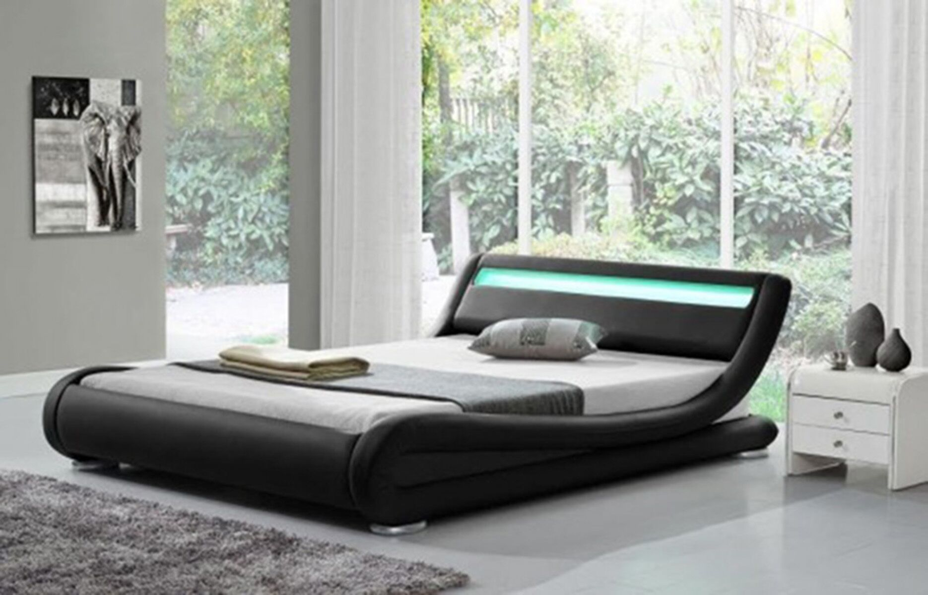 Kondo Upholstered Platform Bed Color: Black, Size: Queen