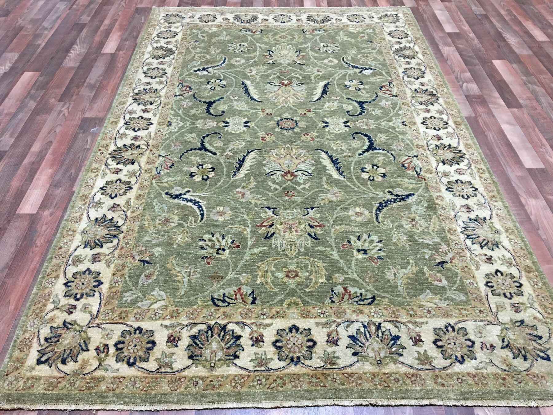 One-of-a-Kind Anjo Hand-Woven Wool Green/Beige/Blue Area Rug