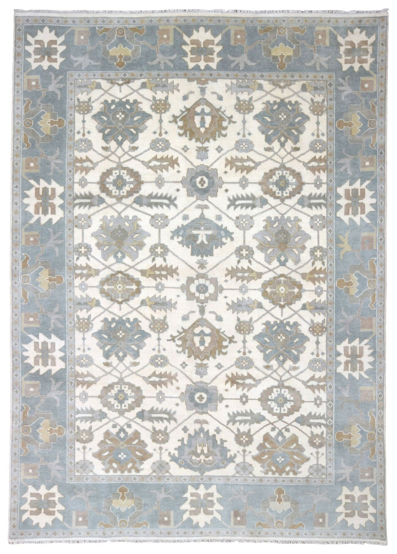 One-of-a-Kind Izie Oushak Hand-Woven Wool Beige Area Rug