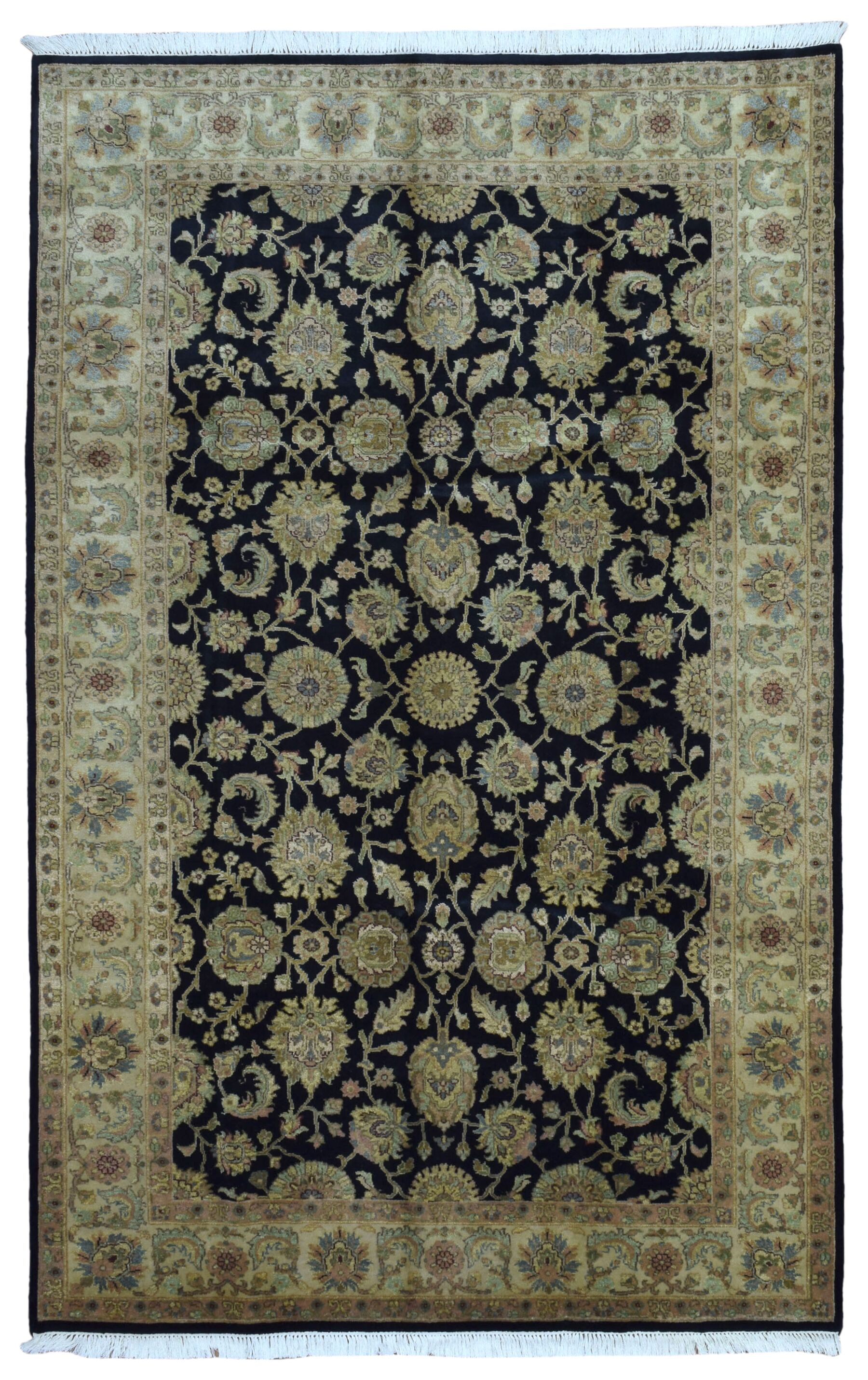One-of-a-Kind Slagen Traditional Oriental Hand Woven Rectangle Wool Navy Area Rug
