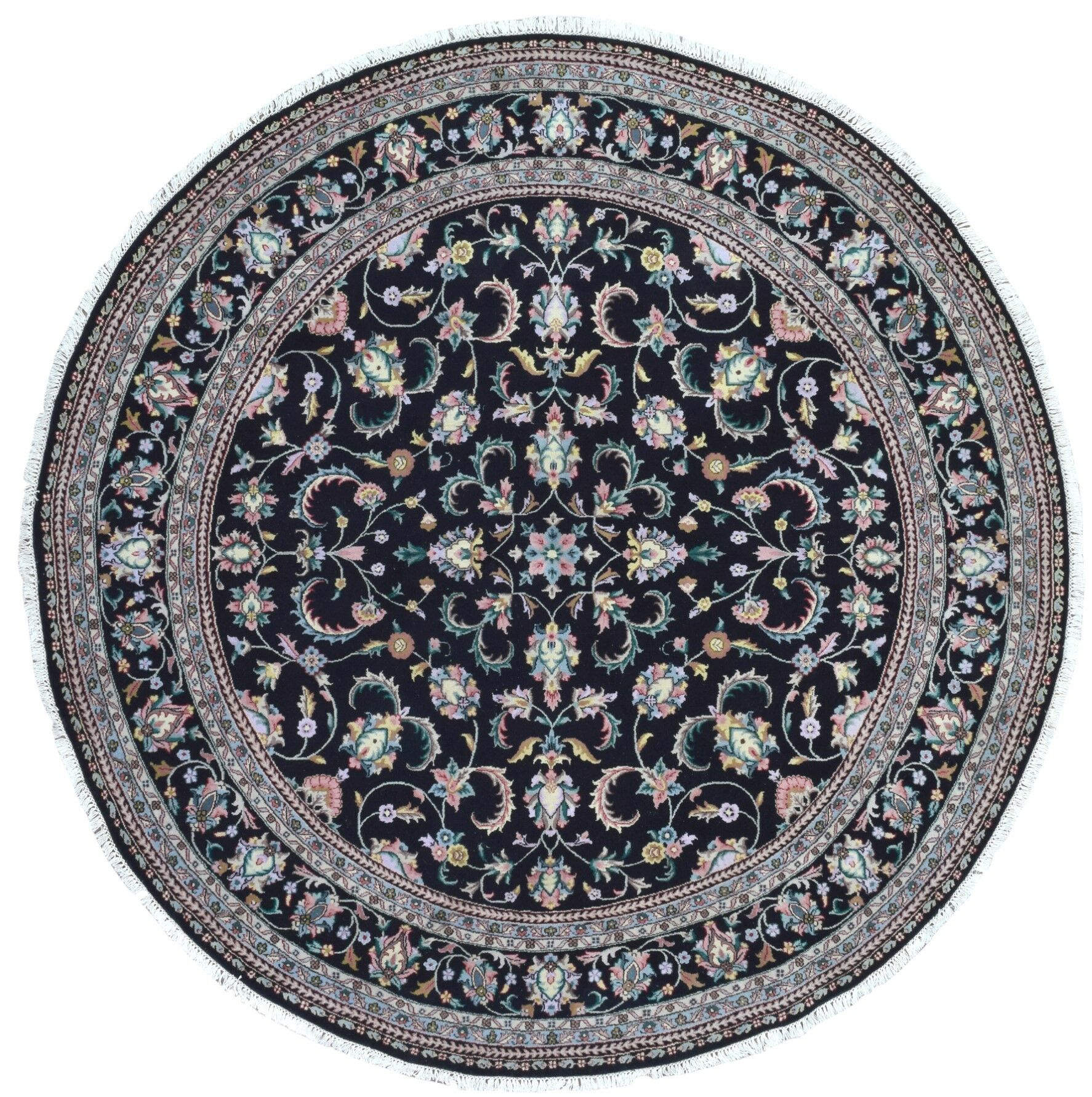 One-of-a-Kind Penni Oriental Round Hand Woven Wool Black Area Rug