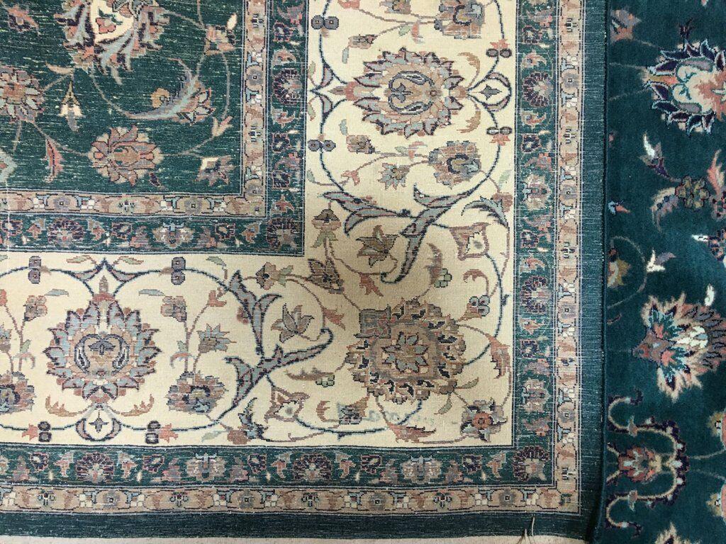 One-of-a-Kind Evert Tabriz Oriental Hand-Woven Wool Green/Blue Area Rug