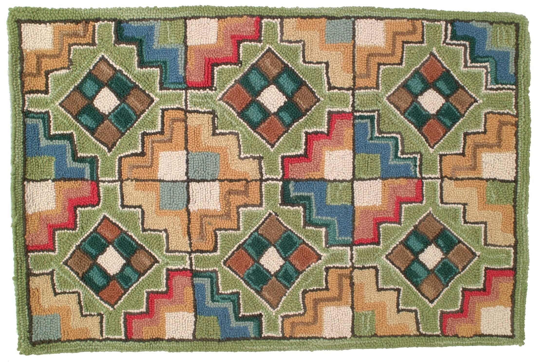 Chatsworth Hand Tufted Wool Green Area Rug Rug Size: 6' x 9'