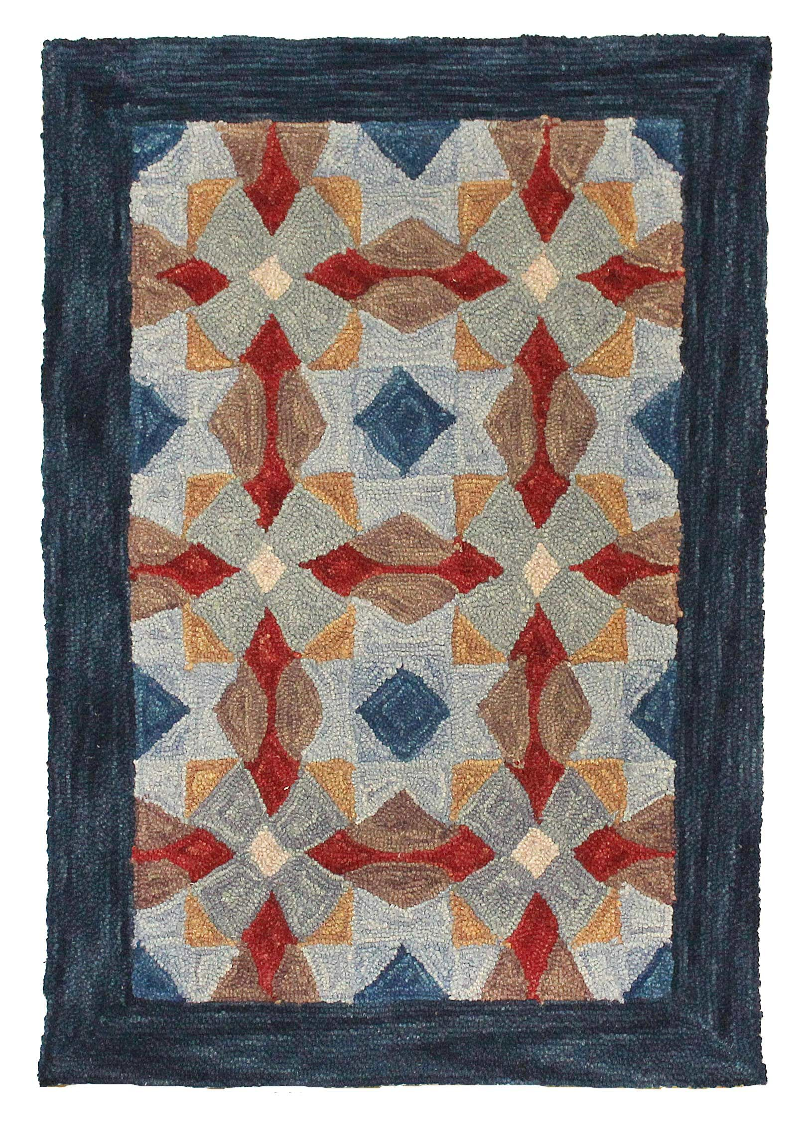 Cheryton Hand Tufted Wool Blue Area Rug Rug Size: 4' x 6'