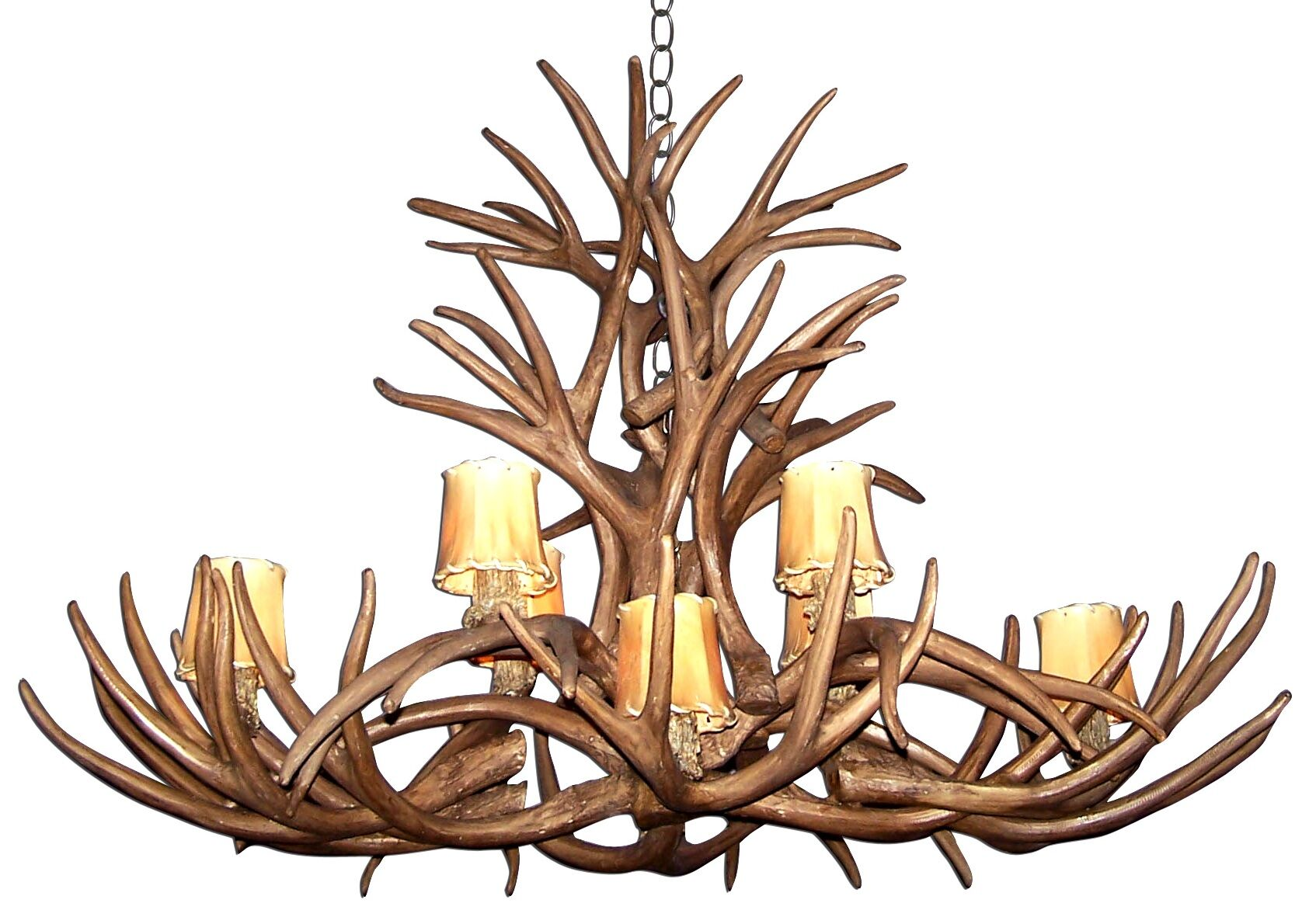 Attwood Antler Mule Deer Inverted Oblong 8-Light We have associated to option Chandelier Finish: Black/White, Shade Color: Rawhide, Shade Included: Yes