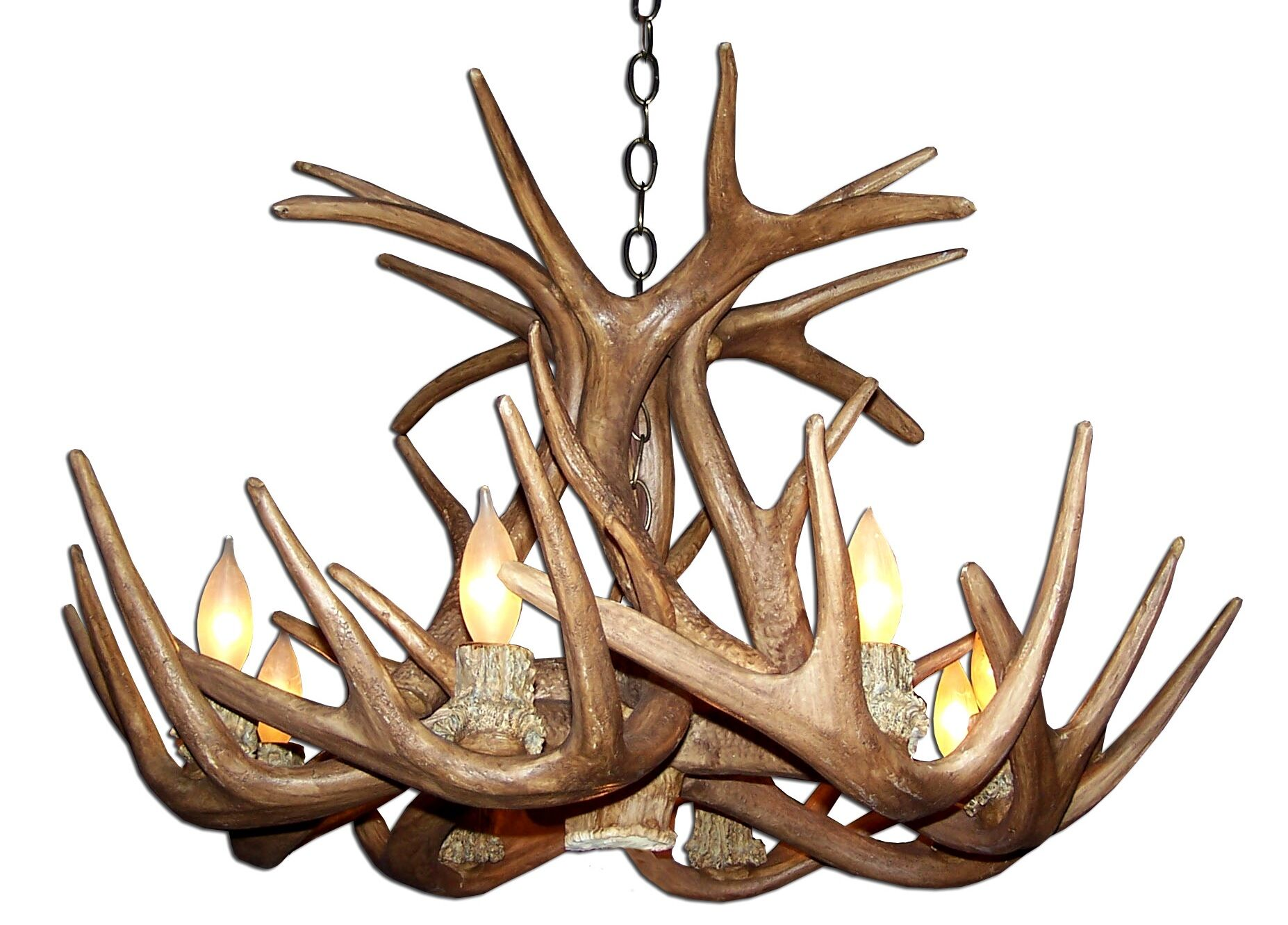 Attwood Antler Whitetail Single Tier 6-Light We have associated to option Chandelier Finish: Black/Brown, Shade Color: Rawhide, Shade Included: Yes