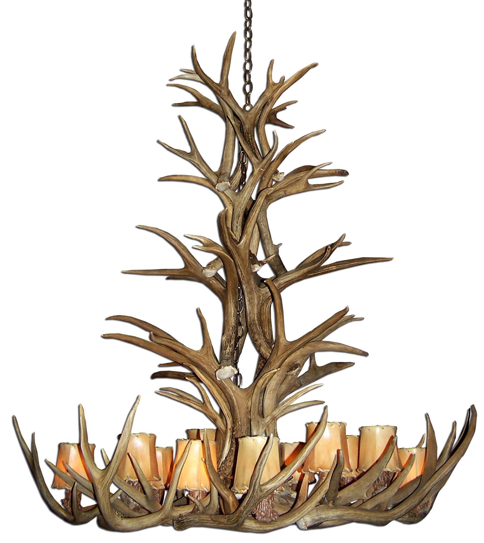 Doliya Antler Mule Deer 12-Light We have associated to option Chandelier Finish: Black/Natural Brown, Shade Color: Rawhide, Shade Included: Yes