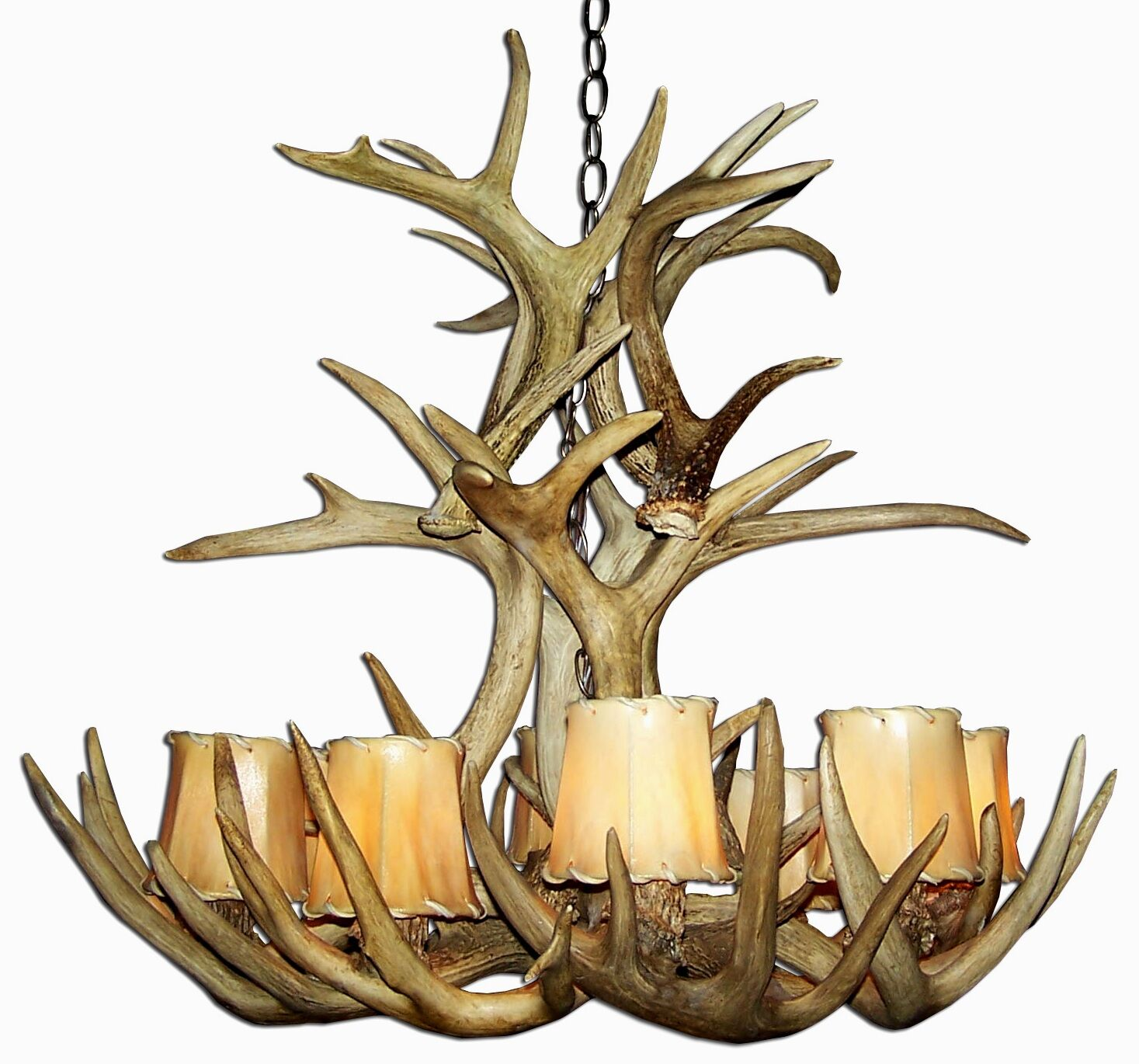 Doliya Antler Whitetail Cascade 12-Light We have associated to option Chandelier Shade Color: Parchment, Finish: Rustic Bronze/Sunbleached, Shade Included: Yes