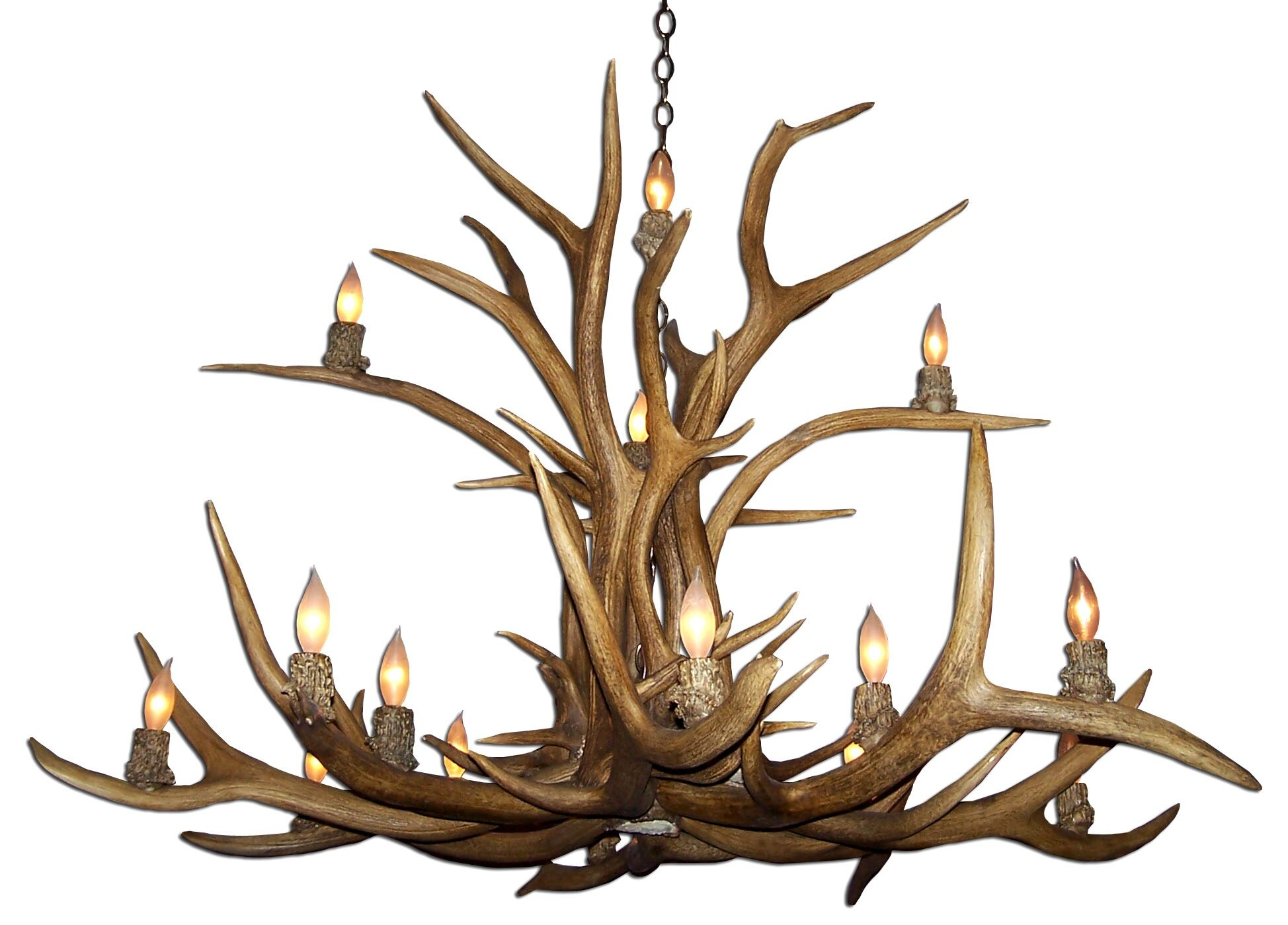 Attwood Antler Elk Inverted 15-Light We have associated to option Chandelier Shade Color: No Shade, Finish: Rustic Bronze/Brown