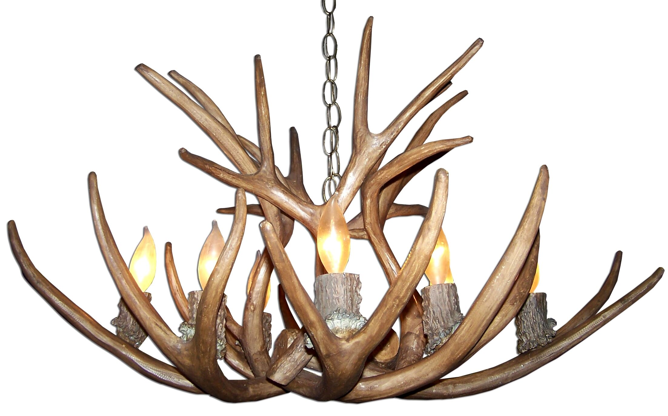 Attwood Antler Mule Deer 8-Light We have associated to option Chandelier Shade Included: No, Shade Color: No Shade, Finish: Rustic Bronze/Brown