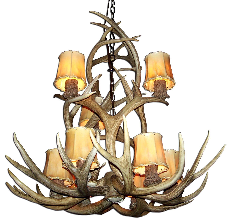Doliya Antler Mule Deer 9-Light We have associated to option Chandelier Finish: Black/Natural Brown, Shade Included: No, Shade Color: No Shade