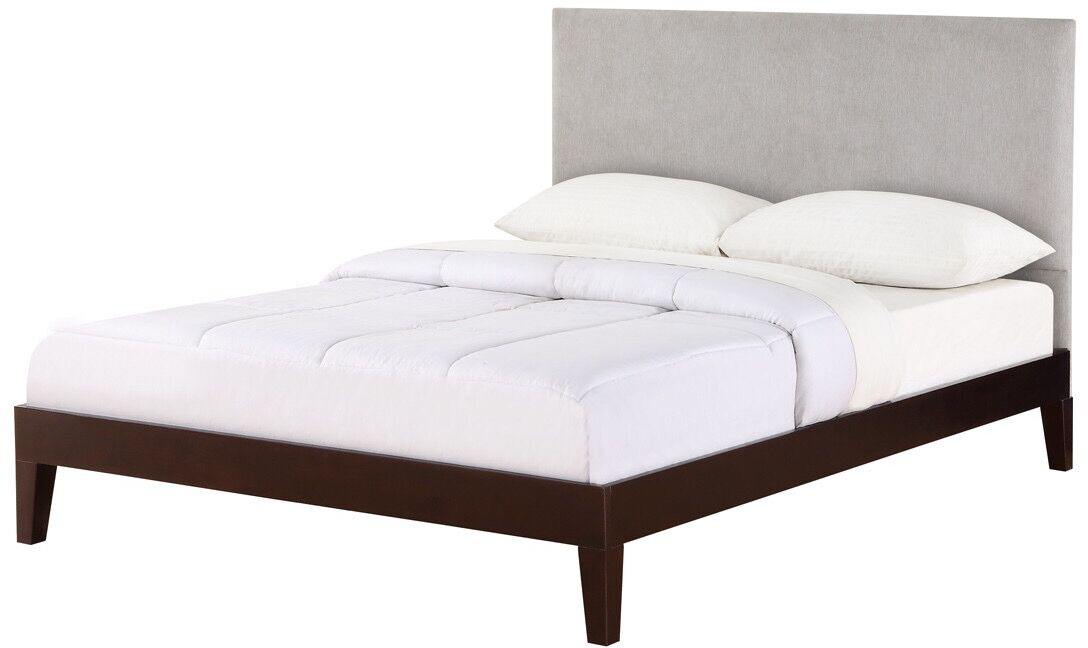 Wroten Upholstered Panel Bed Size: Queen, Color: Espresso, Upholstery: Gray