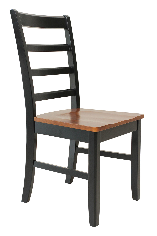 Dinsmore Solid Wood Dining Chair Color: Black/Saddle Brown, Set Of: Set of 4
