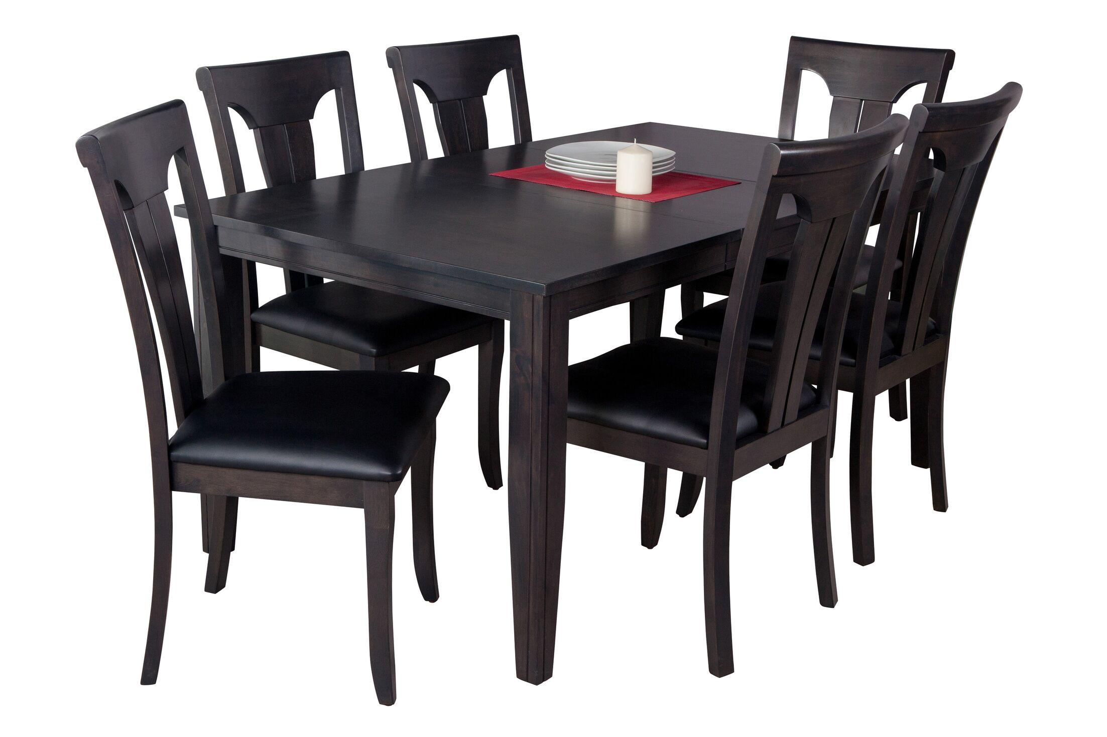 Haan 7 Piece Solid Wood Dining Set Color: Dark Gray