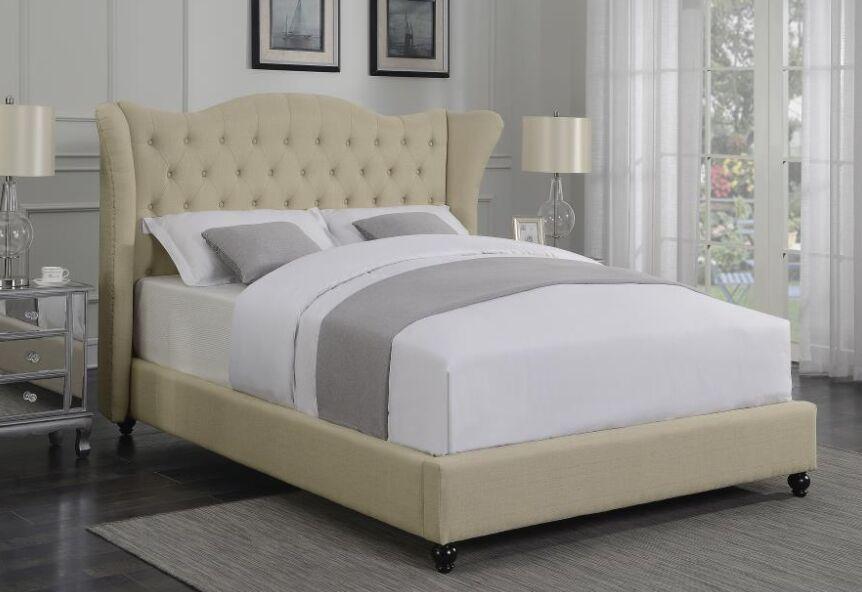 Damaris Upholstered Panel Bed Color: Beige, Size: Califonia King