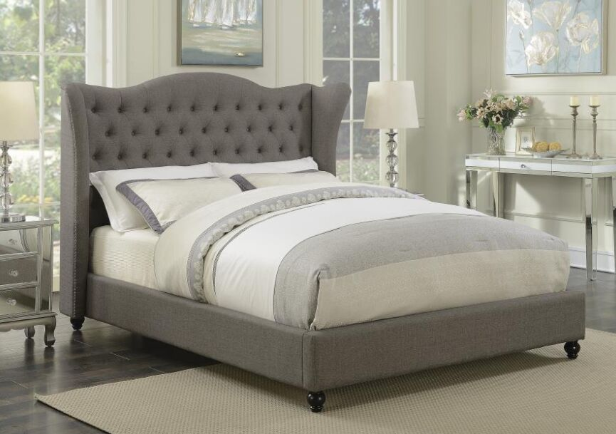 Damaris Upholstered Panel Bed Color: Light Gray, Size: Full