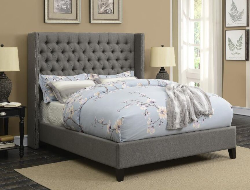 Hadnot Upholstered Panel Bed Color: Gray, Size: Full