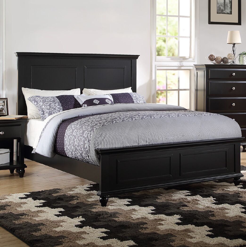 Ensley Panel Bed Color: Black, Size: King