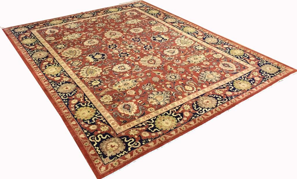 Badham Hand-Knotted Rectangle Wool Red Oriental Area Rug