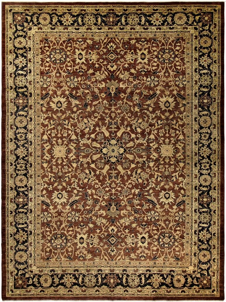 Badham Hand-Knotted Wool Brown/Navy Area Rug