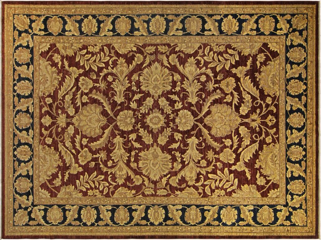Xenos Hand-Knotted Rectangle Wool Red/Blue Area Rug