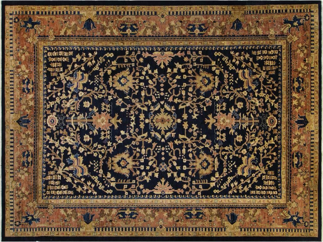 Xenos Hand-Knotted Wool Blue Indoor Area Rug