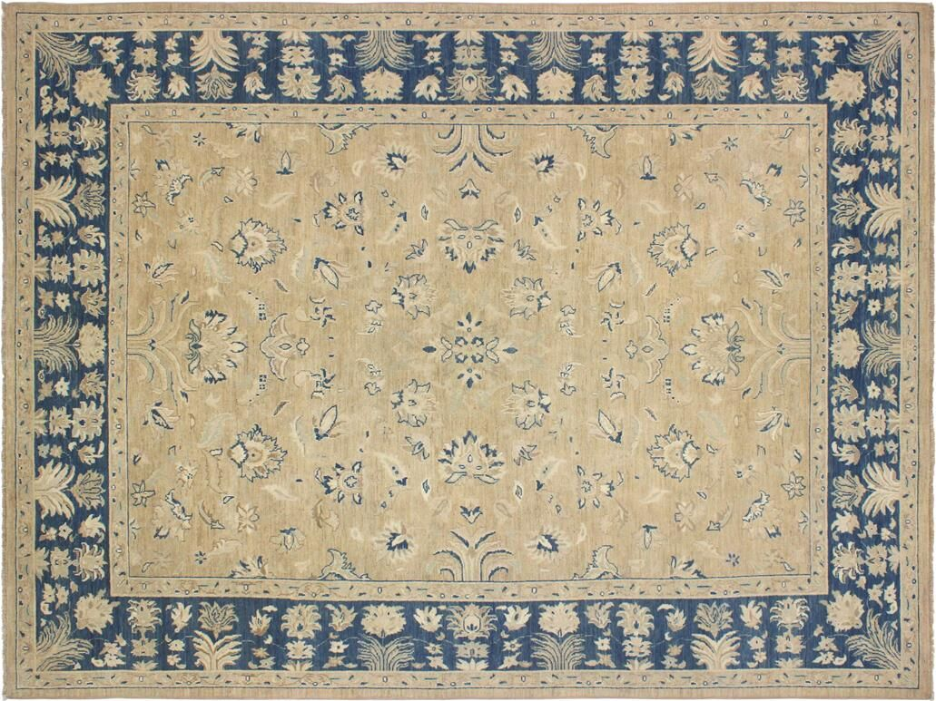 Xenos Hand-Knotted Wool Tan/Blue Area Rug
