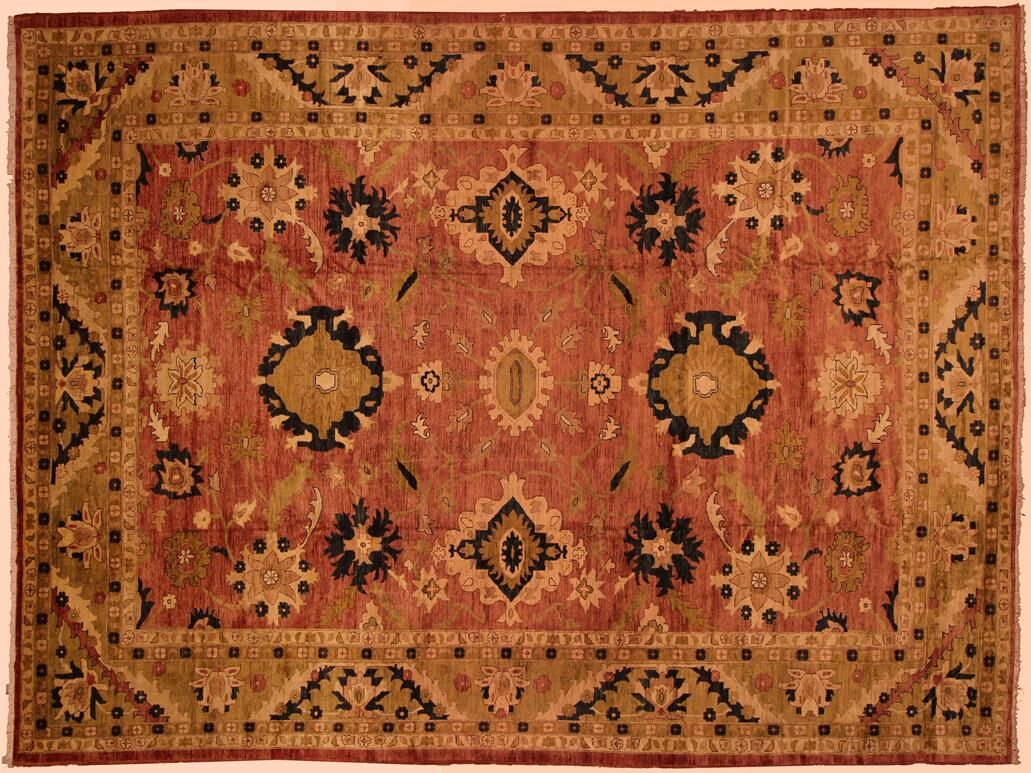 Badham Hand-Knotted Wool Rose/Tan Area Rug
