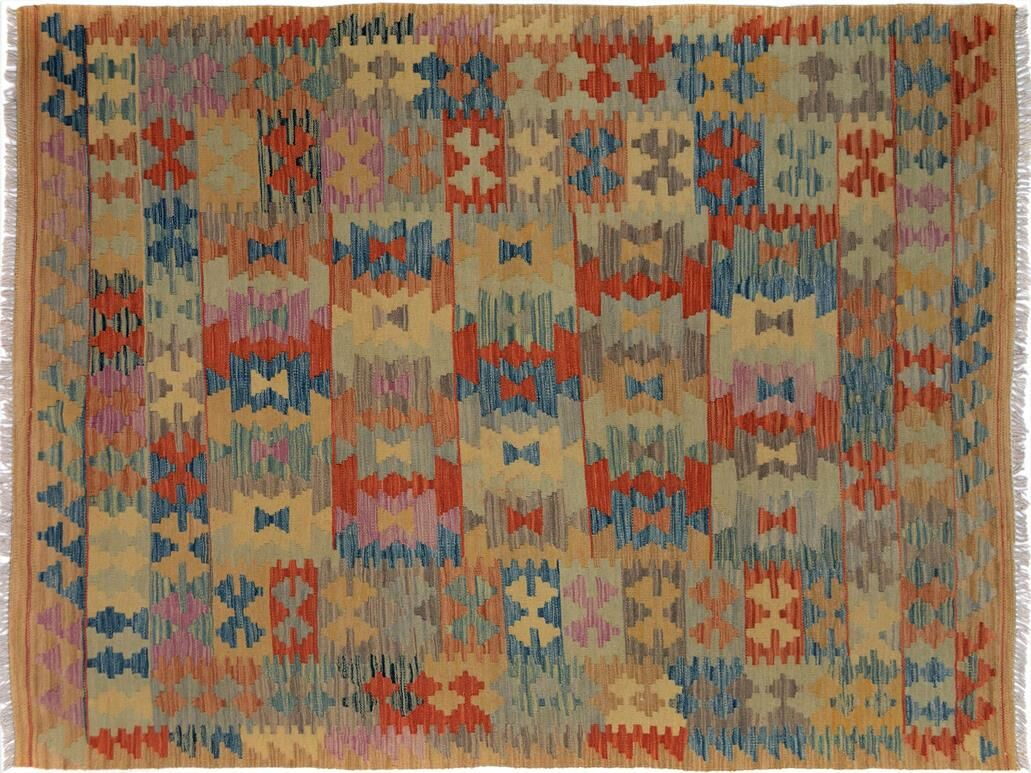 Bakerstown Hand-Woven Rectangle Wool Tan/Blue Area Rug