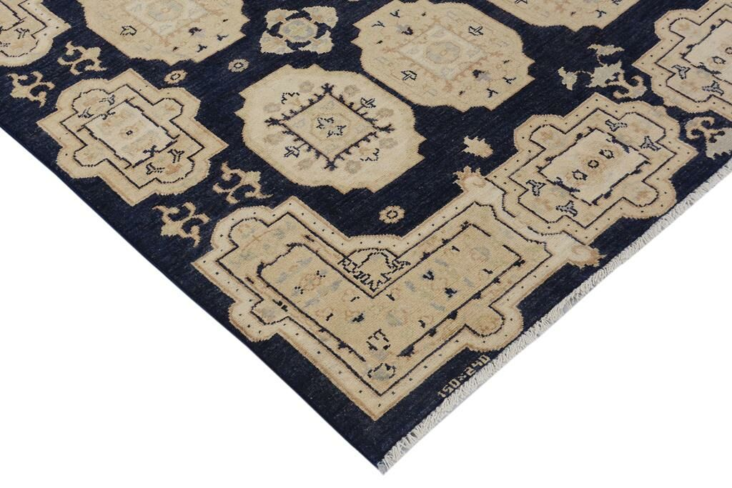 Badham Hand-Knotted Wool Blue/Tan Area Rug