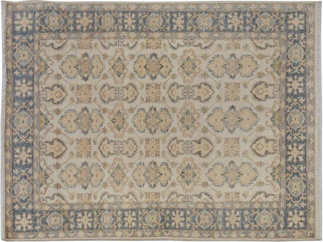 Xenos Transitional Hand-Knotted Wool Ivory/Gray Area Rug