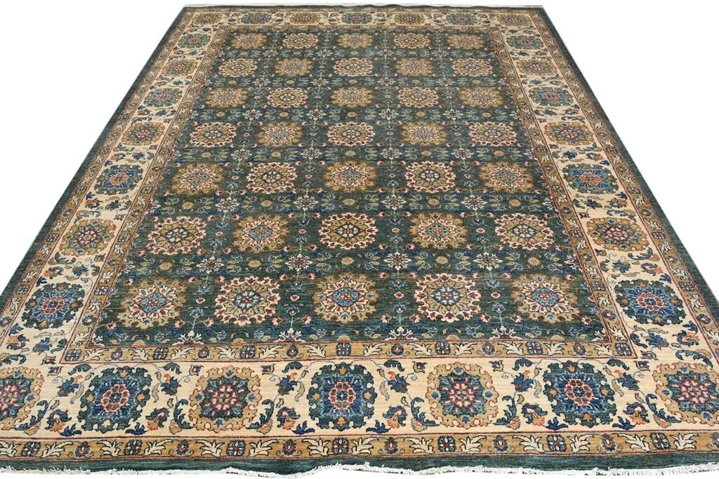 Badham Hand-Knotted Wool Green/Ivory Area Rug